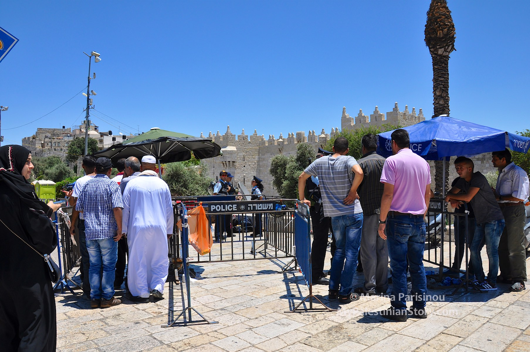 Checkpoint at Damascus Gate. Arab men up to 50 years old need not apply!