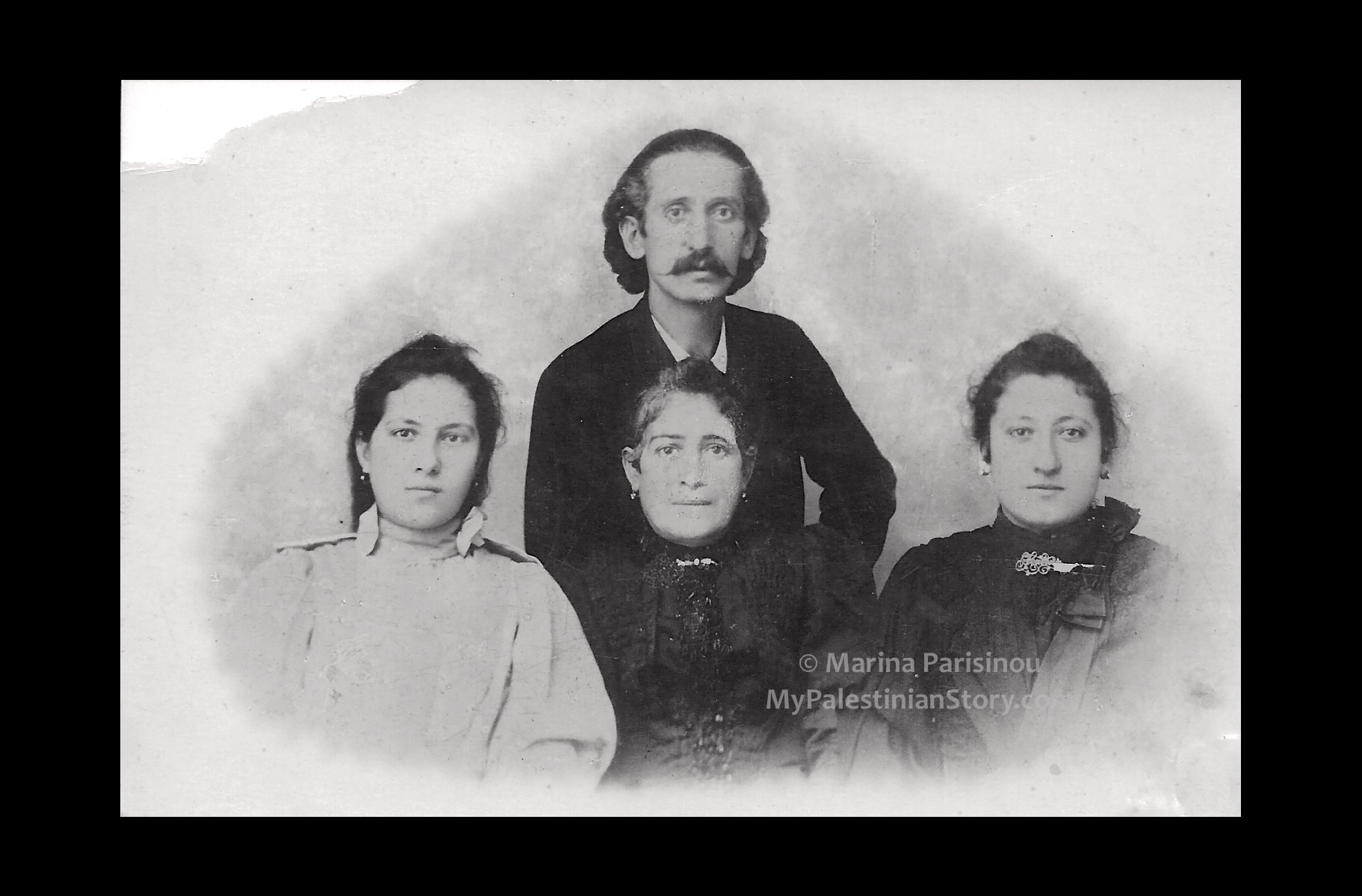 My great-grandmother's family. Top: father, Anestis. Middle: mother, Rosa. Left: sister, Marika. Right: Eugenie (my great-grandmother).