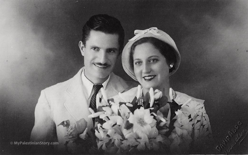 Efthymios Gaitanopoulos & Marika Schtakleff, on their wedding day – Jerusalem 1932 (Photo from Maroussia Wentzel's archive.)