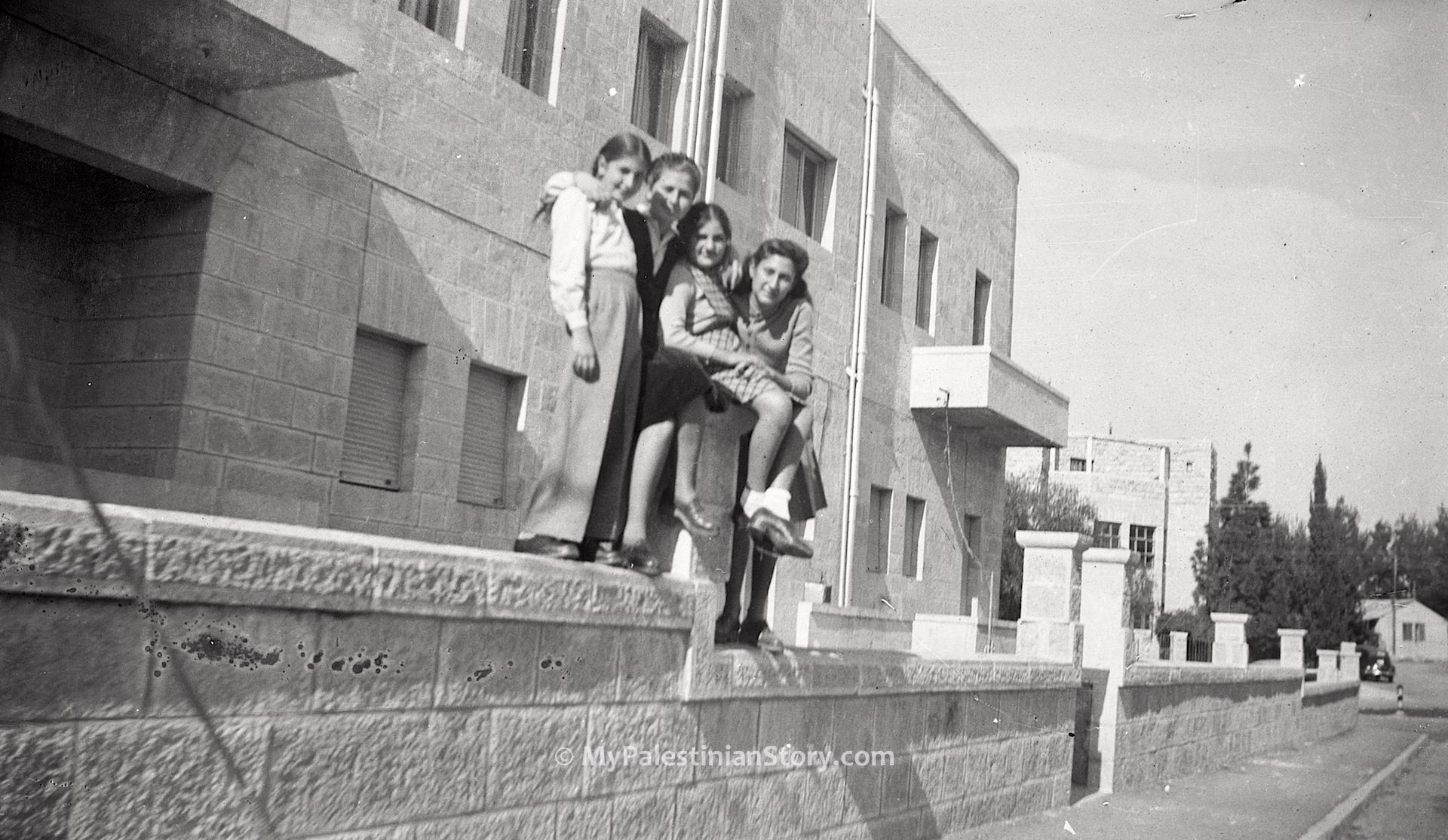 Mary, Anna, Jenny, Feely perched on a fencing wall in Katamon