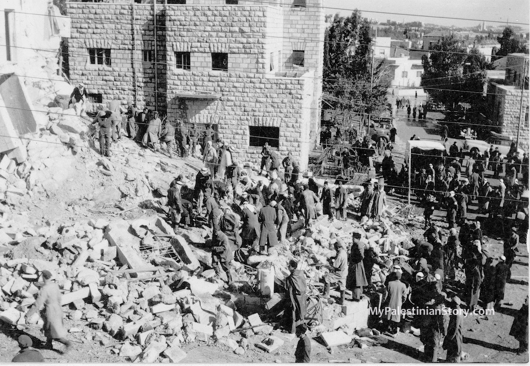 The Semiramis after the bombing. One building separated it from the Kassotis house.