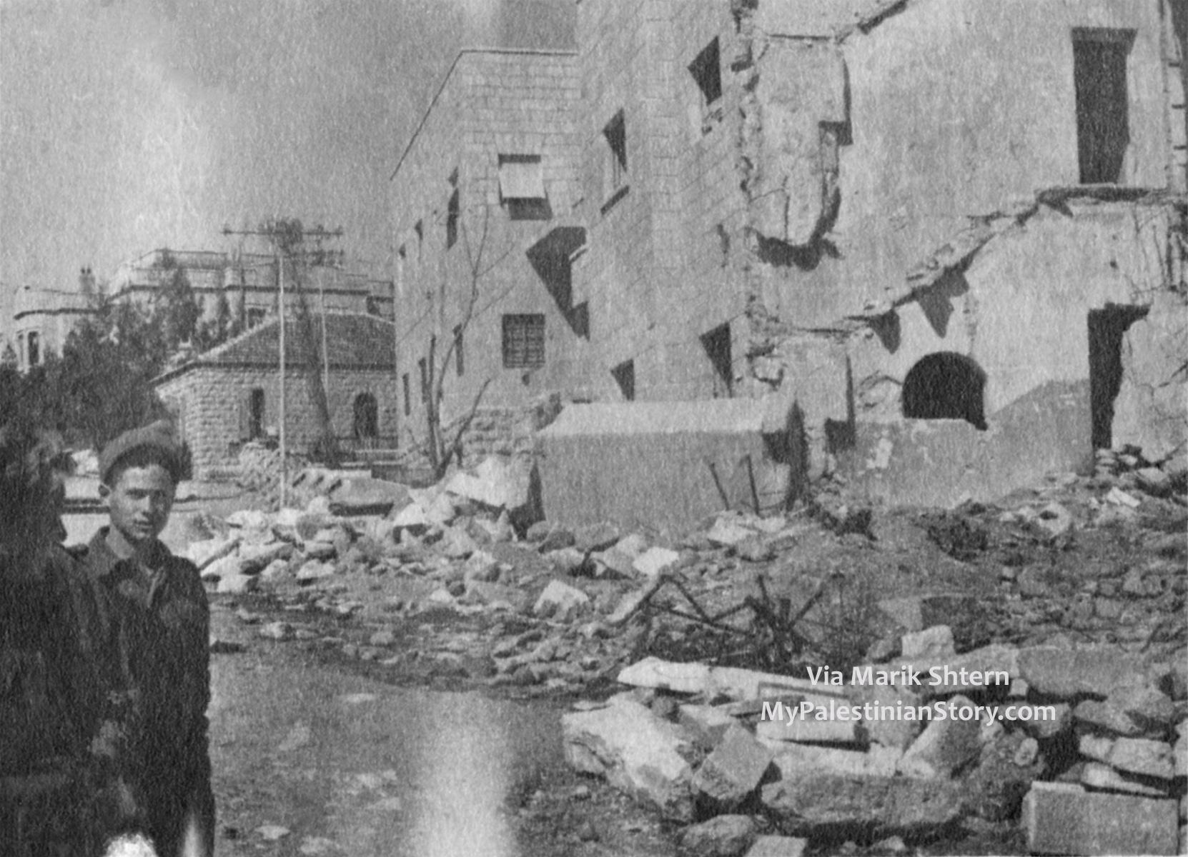 The bombed Semiramis with the Kassotis house in the background. (Photo via Marik Shtern)