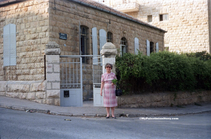 Anna Kassotou outside her home in Katamon, Jerusalem - Aug 1986
